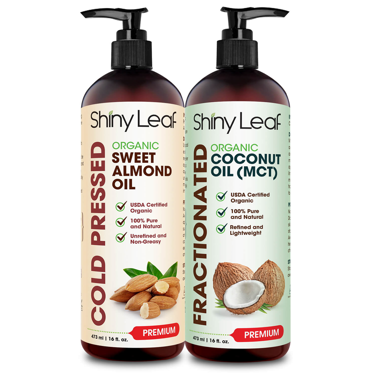 ORGANIC SWEET ALMOND OIL AND FRACTIONATED COCONUT OIL BUNDLE